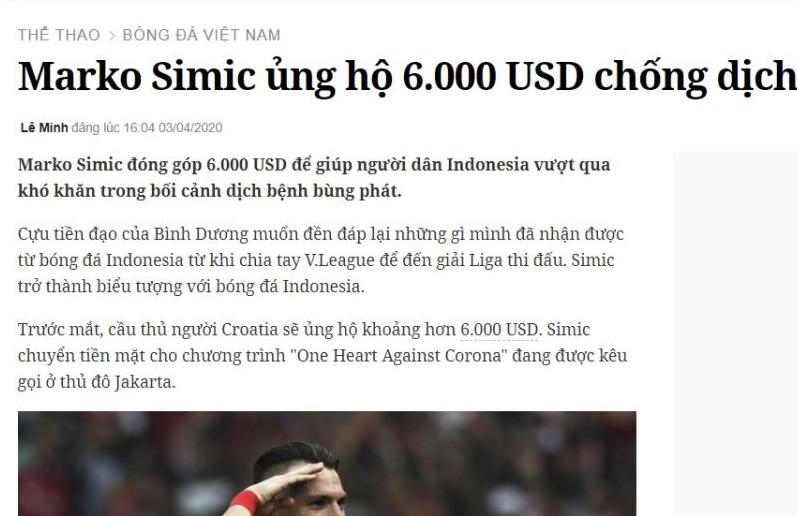 Sumbang Rp 126 Juta buat Corona, Marko Simic Disorot Media Vietnam