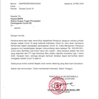 Persipura Layangkan Surat ke BNPB, Penuhi Janjinya