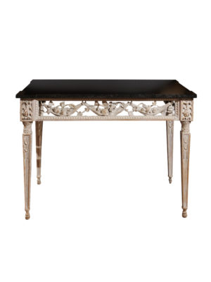 Louis XV Painted Console with Black Marble Top