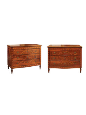 Pair 18th Century Italian Inlaid Walnut Commodes
