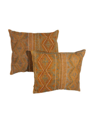 Pair Brown Turkish Embroidered Pillows