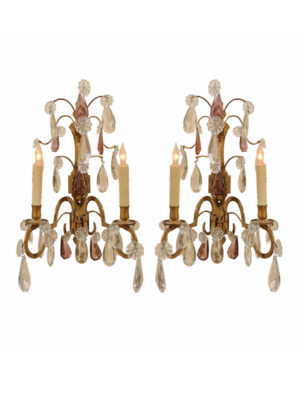 Pair Crystal & Amethyst Sconces