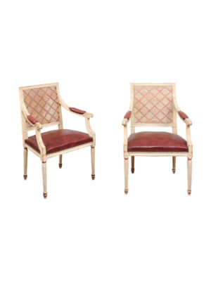 Pair Louis XVI Style Fauteuils with Caned Backs