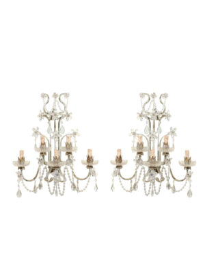 Pair Venetian Crystal Sconces