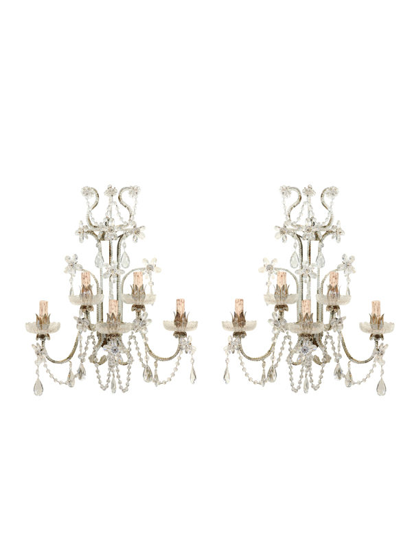 Pair Venetian Crystal Sconces