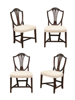 Set 4 English Shieldback Dining Chairs