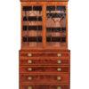 George III Inlaid Secretary Bookcase with Swan Neck Pediment