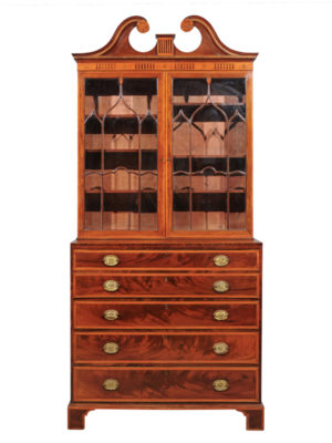 George III Inlaid Secretary Bookcase with Swan Neck Pediment