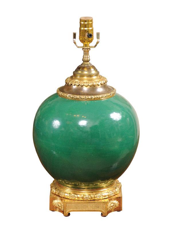 French Green Glazed Porcelain Lamp