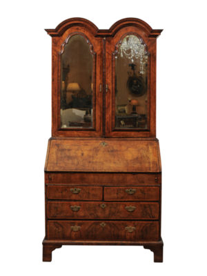 Queen Anne Double Bonnet Bureau Bookcase