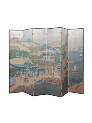 Folding Screen with Painted Chinese Scenes