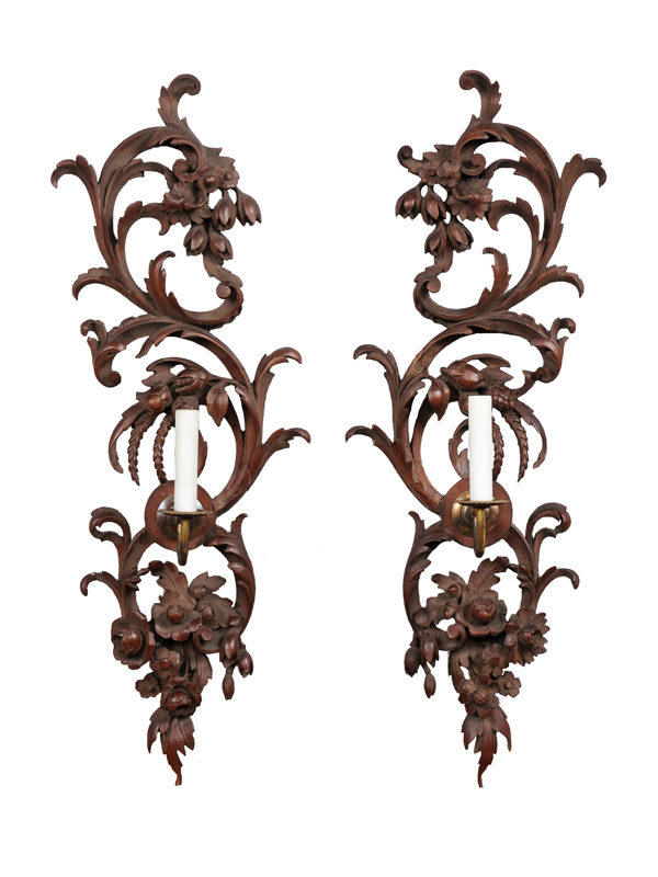 Pair Carved Wood Sconces
