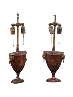 Pair Tole Chestnut Urn Lamps