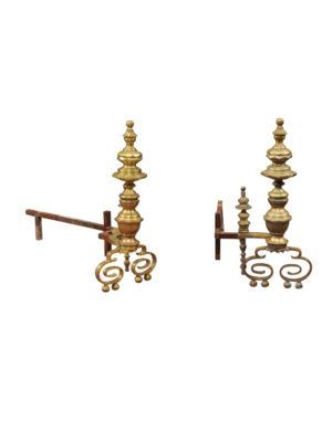 19th Century Brass Andirons