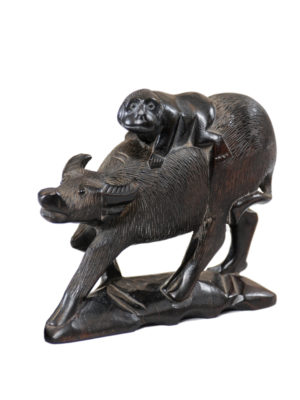 Carved Wooden Figure of Buffalo & Monkey