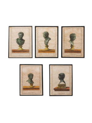 Set of 5 Aquatint Antique Bust Engravings