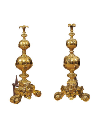 Brass Andirons with Fleur de Lis