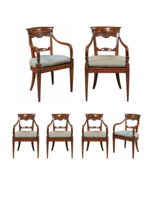 Neoclassical Armchairs with Cane Seats
