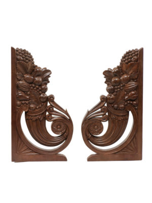 Pair Carved Wood Architectural Elements