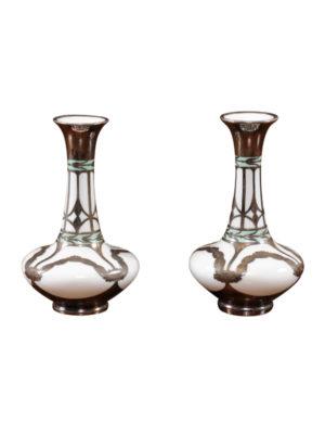 Pair Opaline Bud Vases