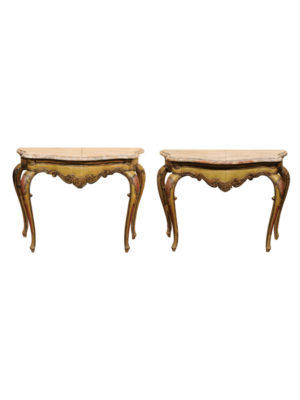 Pair Rococo Style Consoles with Marble Tops