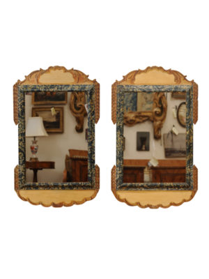 Pair Polychrome Painted Mirrors