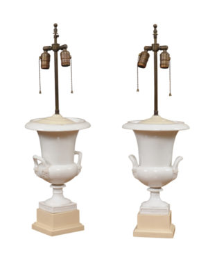 Pair White Pocelain Urn Lamps