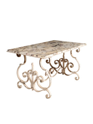 Iron Garden Table with Marble Top