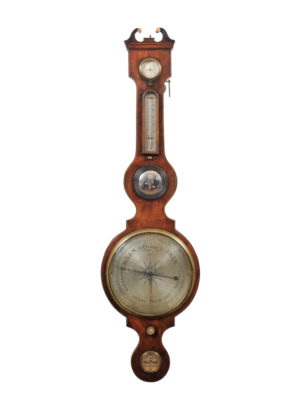 Mahogany Banjo Barometer with Swan Neck Pediment