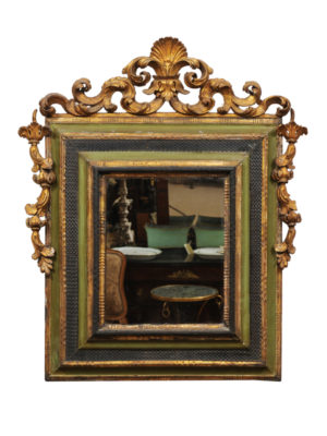 Green Painted & Parcel Gilt Baroque Style Mirror
