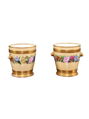 Pair Paris Porcelain Cachepots Floral Decoration