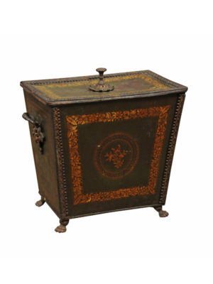 19th Century Green Painted Coal Hod with Gilt Decoration