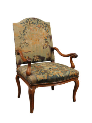 Louis XV Walnut Armchair with Tapestry Upholstery
