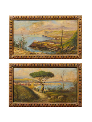Pair Framed Landscape Paintings