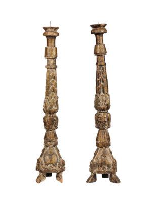 Pair Italian Gitlwood Candlesticks