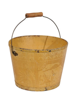 Yellow Painted Bucket with Landscape Scene