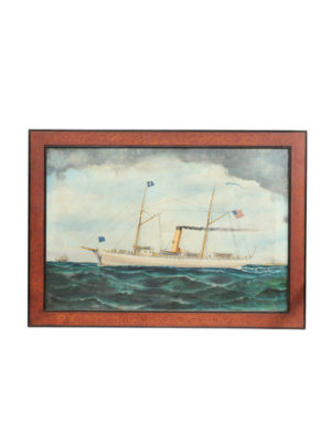 19th Century American Oil Painting Steamship