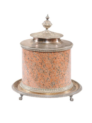 Art Nouveau Silver Plate & Granite Ice Bucket