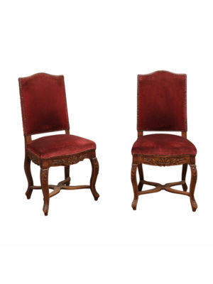 Pair Louis XV Style Upholstered Side Chairs