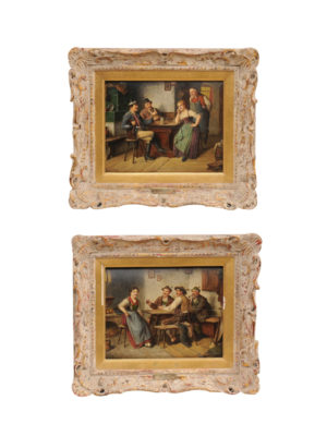 Pair Ostersetzer Tavern Oil Paintings