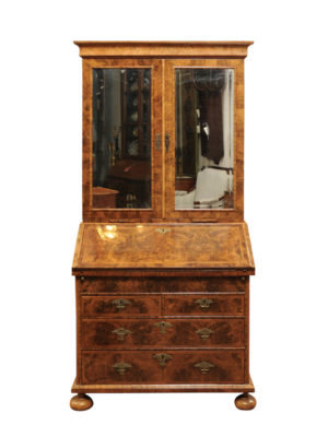 William & Mary Olivewood Bureau Bookcase