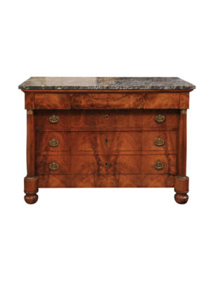 Empire Walnut Commode with Marble Top