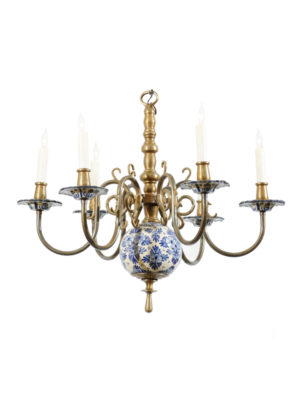Brass & Delft Chandelier
