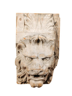 Carved Wood Lion's Head