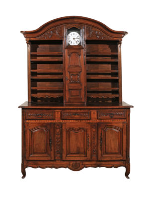 18th Century Walnut Vaisellier with Clock