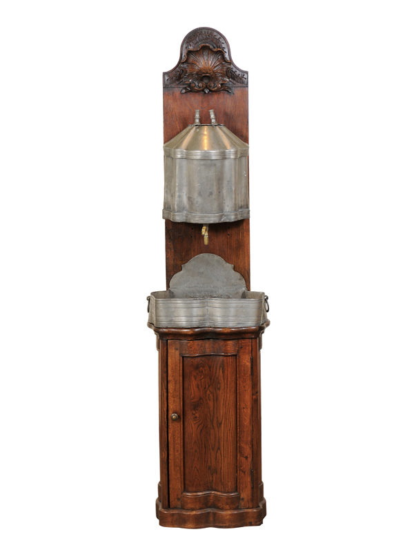18th Century French Oak & Pewter Lavabo