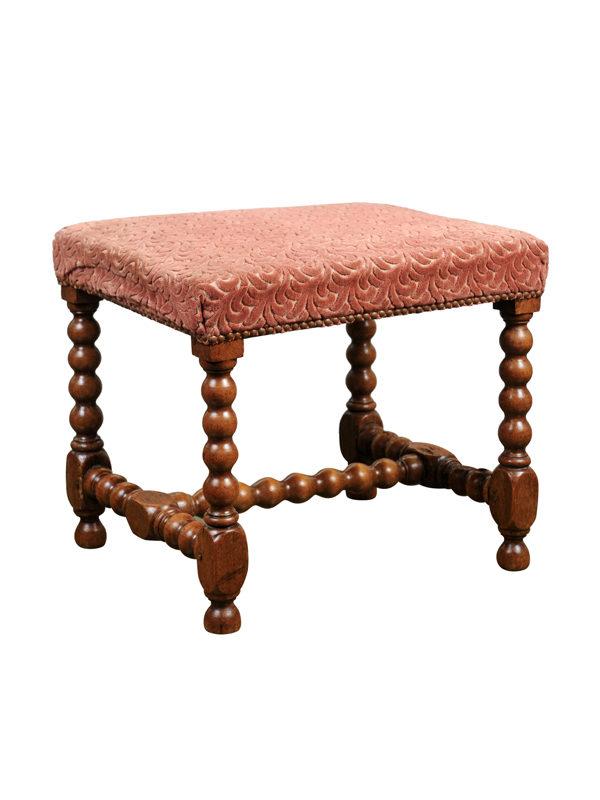 19th Century French Walnut Bobbin Turned Bench