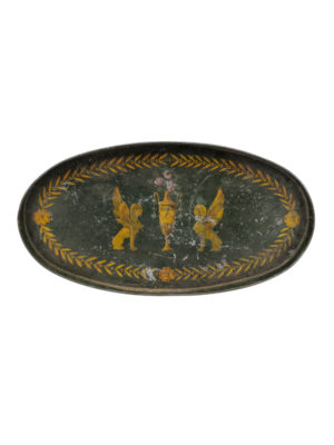 19th Century Green Painted Tole Tray