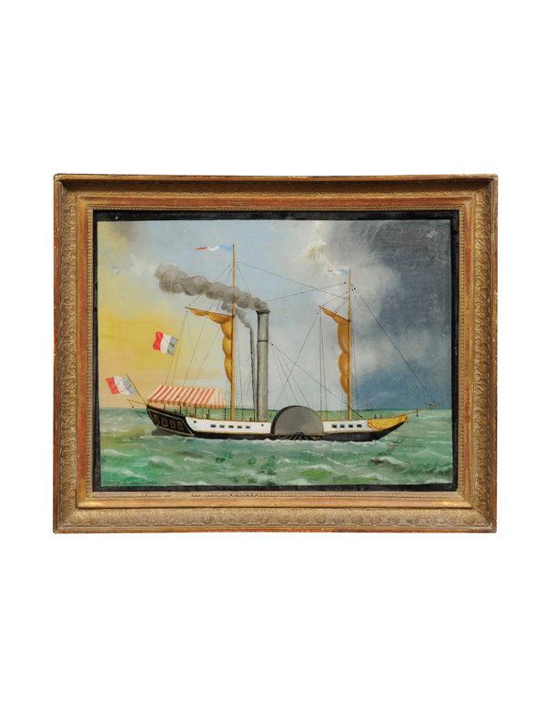 Eglomise Ship Painting
