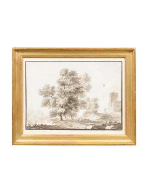 Framed Grisaille Landscape